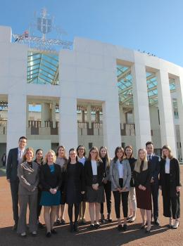 Global Voices Scholars outside Parliament House
